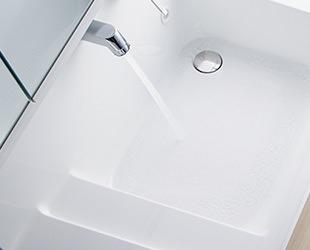 クリナップ洗面化粧台Sシリーズ、キッチンのアイディア技術を活かした「流レールボール」