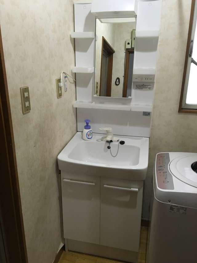 清瀬市にてLIXIL(リクシル)1面鏡2枚扉シングルレバー水栓洗面化粧台へ交換